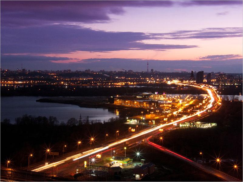Вид на Московский мост вечером