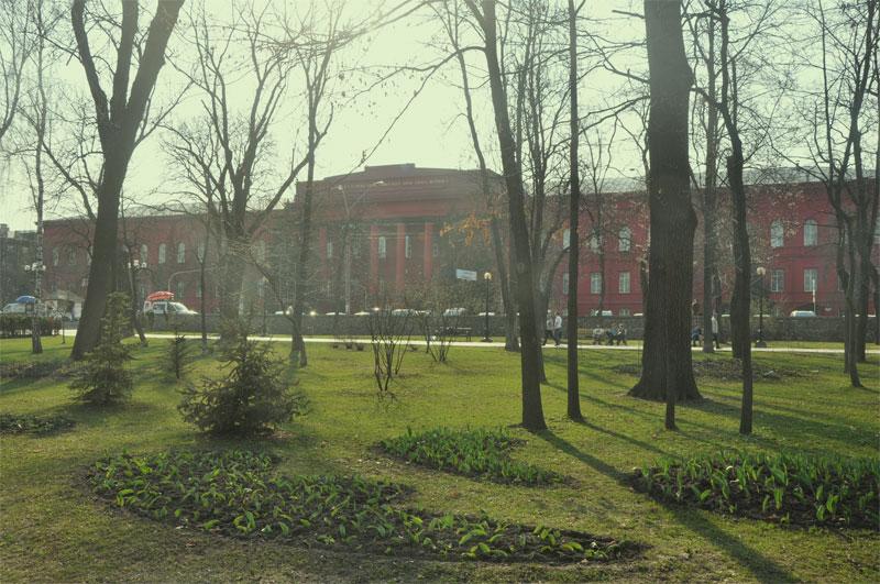 Красный корпус: вид из парка