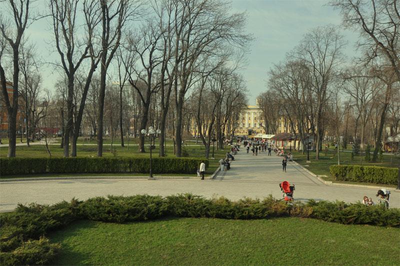 Вид с клумбы парка