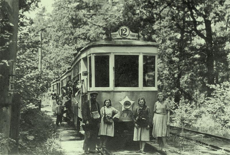 Один из первых трамваев в Пущу-Водицу