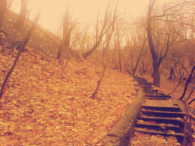 Разрушенная лестница на гору