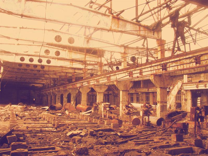 Внутри цеха завода